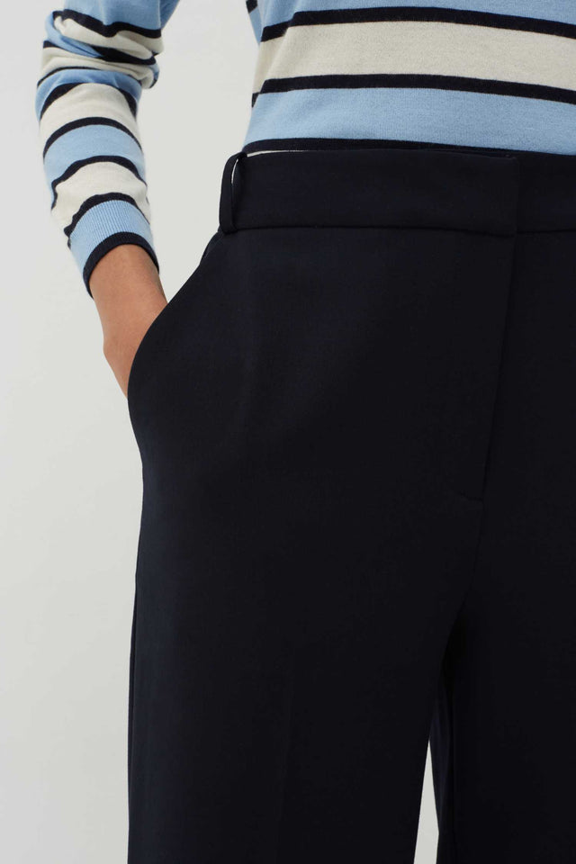 Navy Wool-Twill Cropped Trousers image 4