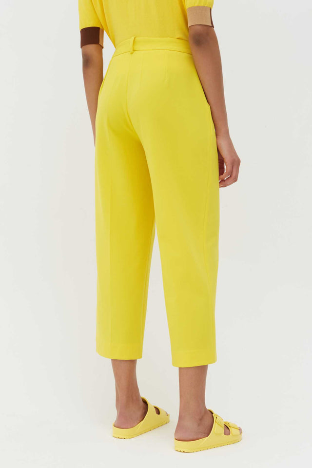 Yellow Wool-Twill Cropped Trousers image 3
