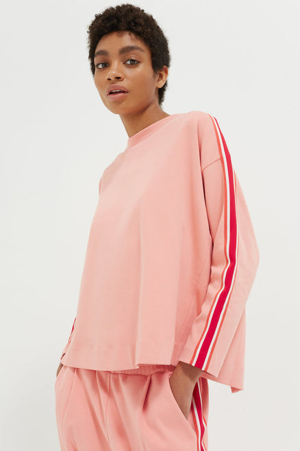 Pink Open Back Brushed Cotton Sweatshirt