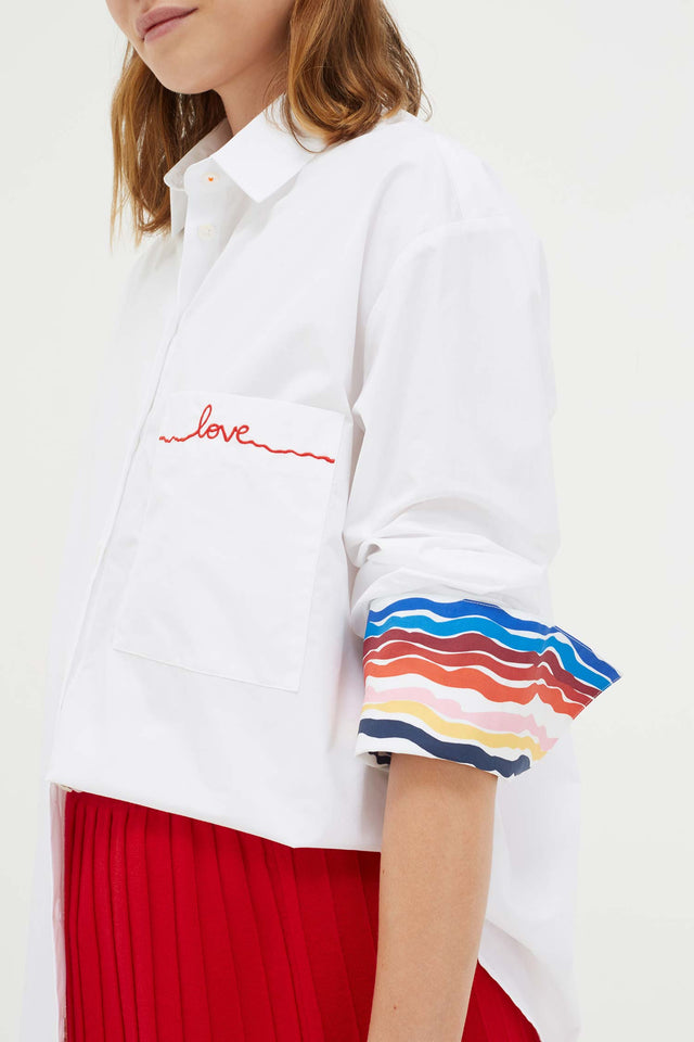 White Cotton Rainbow Shirt image 3