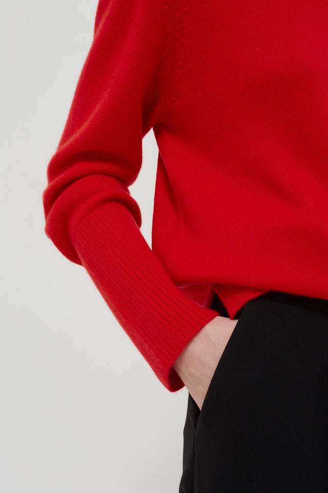 Red Cashmere Boxy Sweater image 4