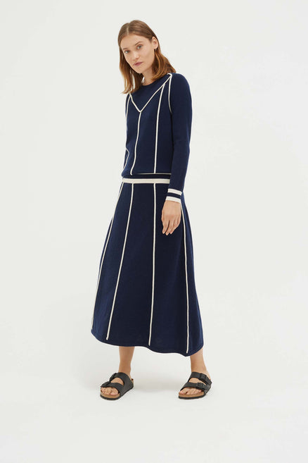 Navy Ribbon Wool Dress