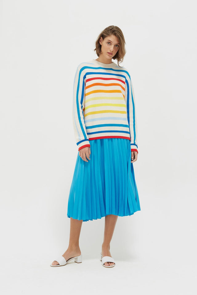 Rainbow Breton Stripe Chunky Knit Sweater image 4