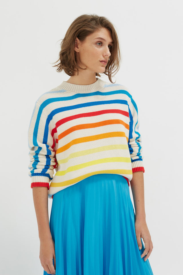 Rainbow Breton Stripe Chunky Knit Sweater image 1