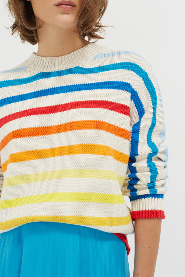 Rainbow Breton Stripe Chunky Knit Sweater image 5