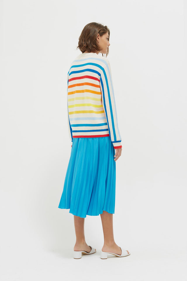 Rainbow Breton Stripe Chunky Knit Sweater image 6