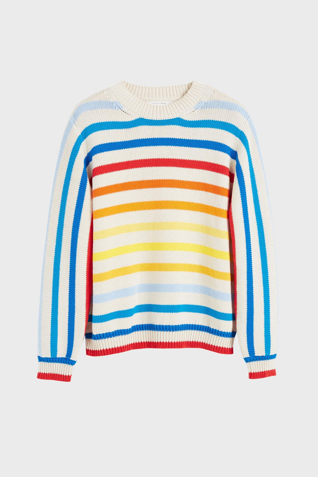 Rainbow Breton Stripe Chunky Knit Sweater image 2