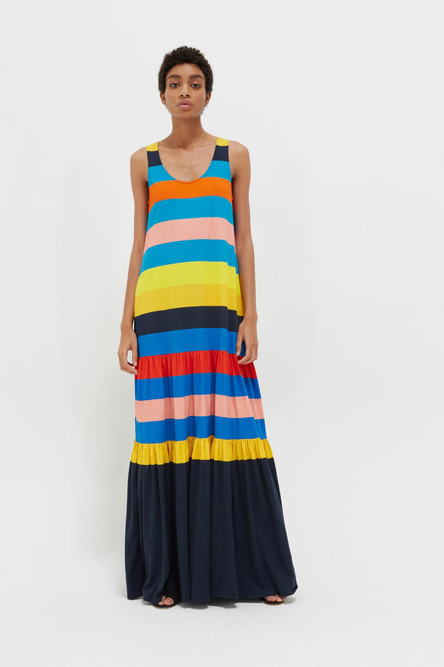Rainbow Sunset Holiday Organic Jersey Maxi Dress image 1