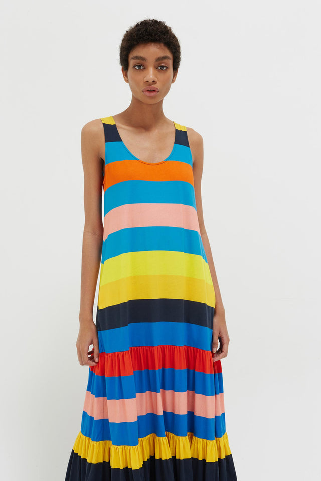 Rainbow Sunset Holiday Organic Jersey Maxi Dress image 3