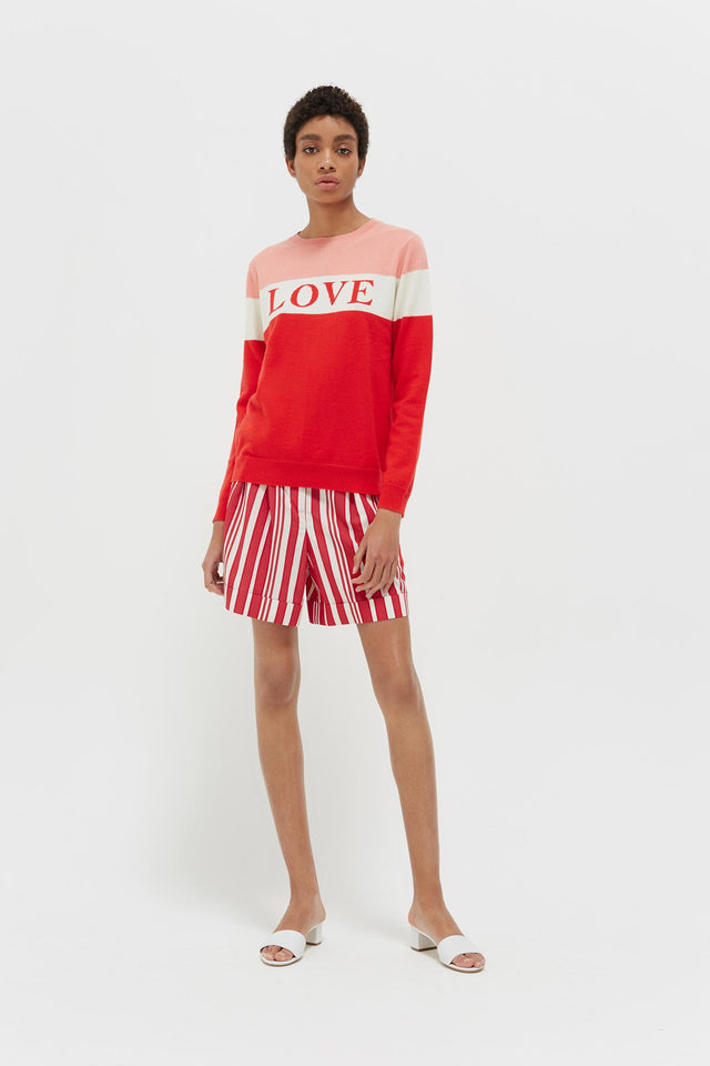 Red Colour Block Love Cashmere Sweater image 3