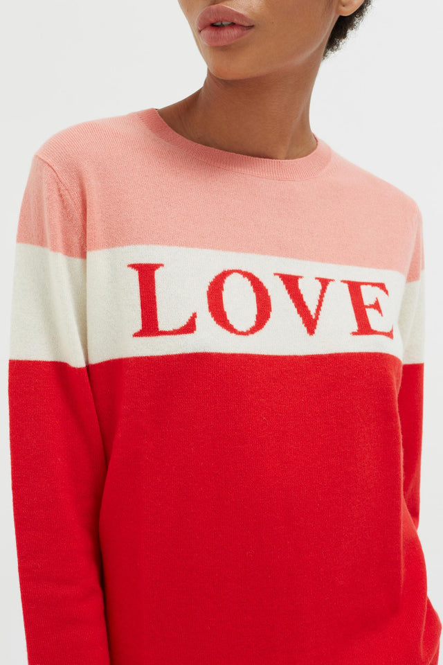 Red Colour Block Love Cashmere Sweater image 4