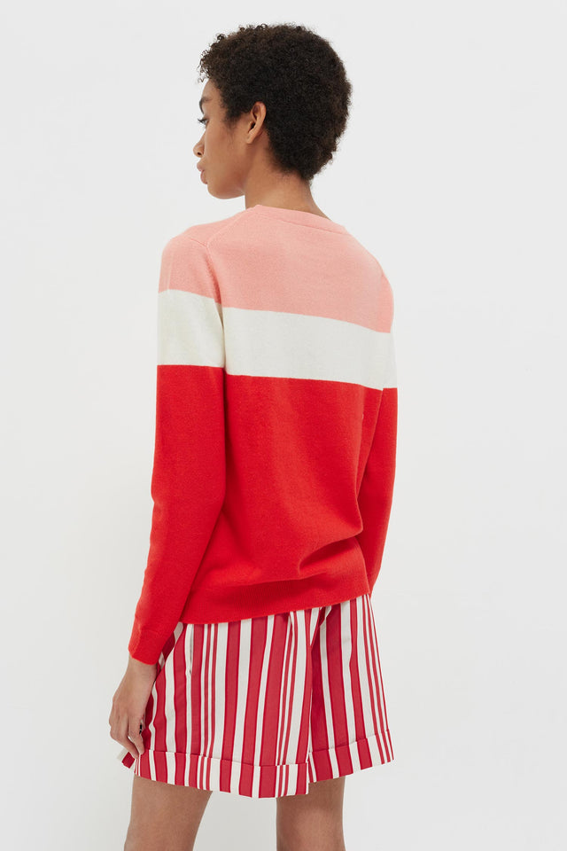 Red Colour Block Love Cashmere Sweater image 5