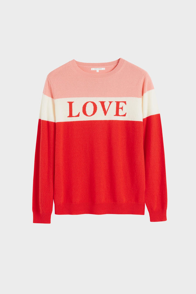 Red Colour Block Love Cashmere Sweater image 2