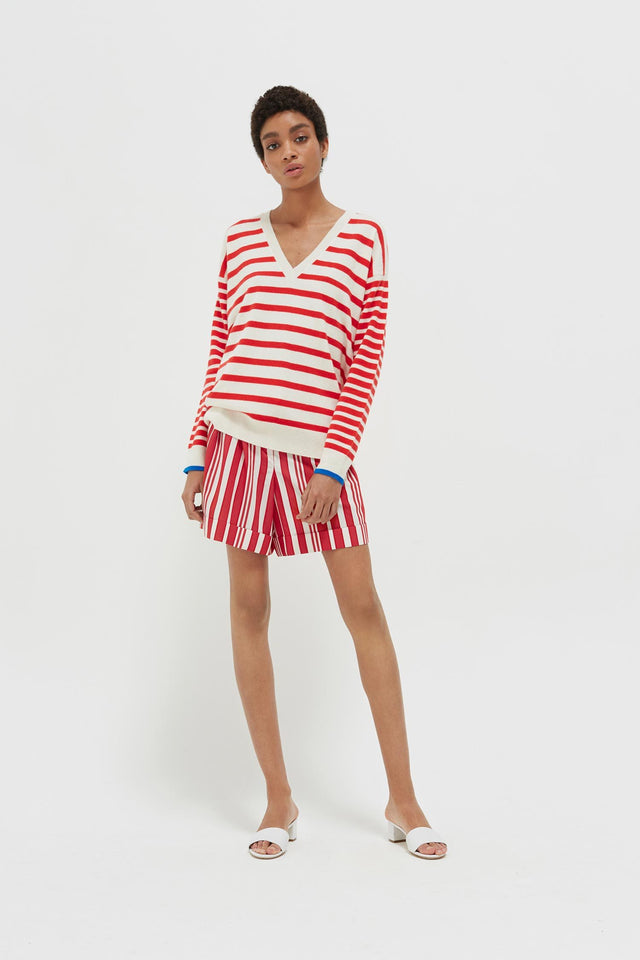 Red Striped Cashmere V Neck Sweater image 3
