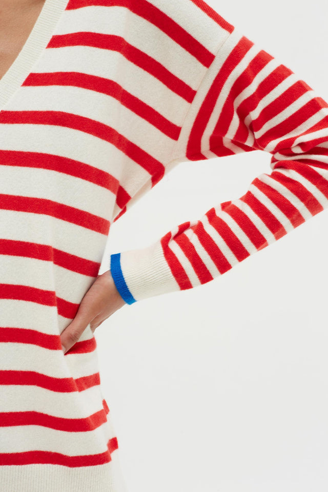 Red Striped Cashmere V Neck Sweater image 4
