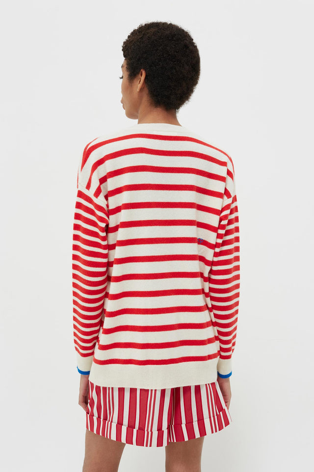 Red Striped Cashmere V Neck Sweater image 5