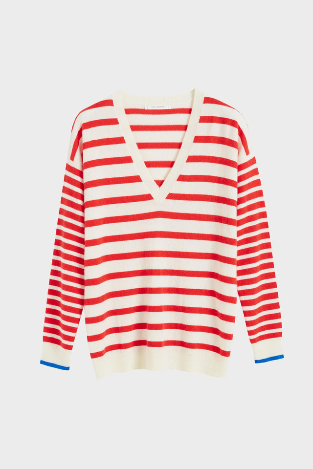 Red Striped Cashmere V Neck Sweater image 2