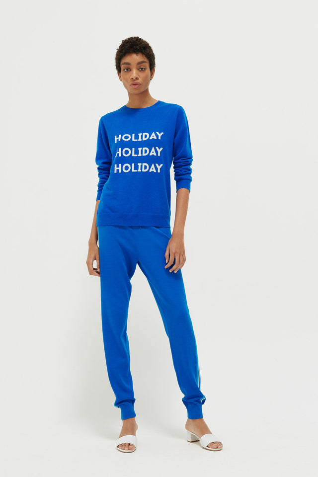 Royal-Blue Holiday Wool-Cashmere Sweater image 3