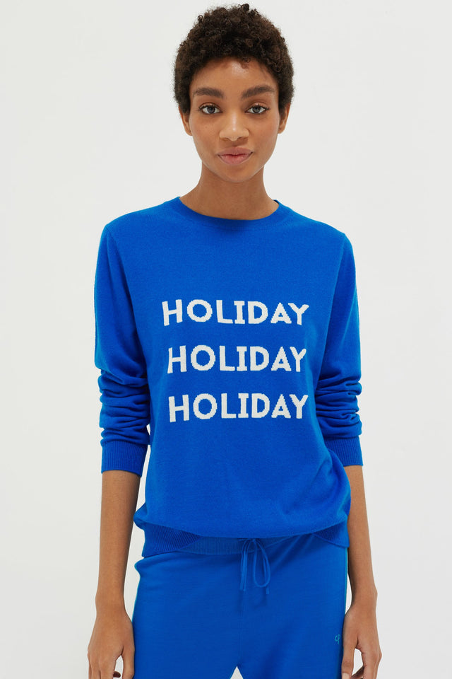 Royal-Blue Holiday Wool-Cashmere Sweater image 5