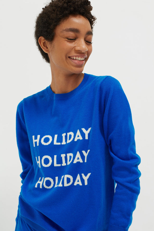 Royal-Blue Holiday Wool-Cashmere Sweater image 1