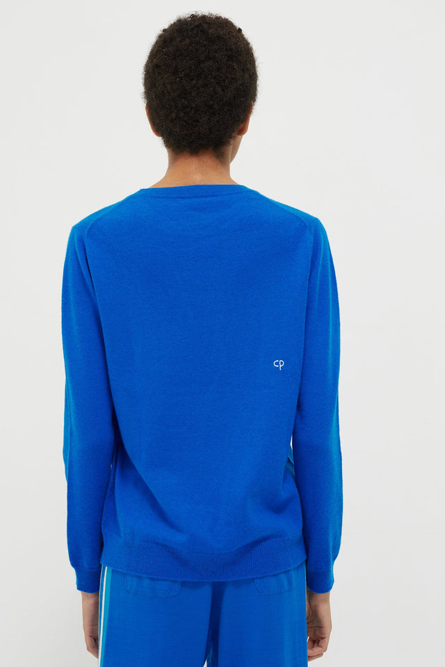 Royal-Blue Holiday Wool-Cashmere Sweater image 4