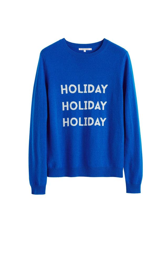 Royal-Blue Holiday Wool-Cashmere Sweater image 2