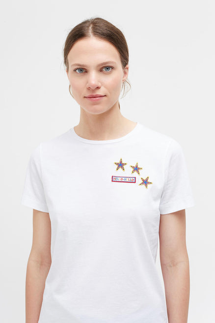 White Cotton Patches T-Shirt