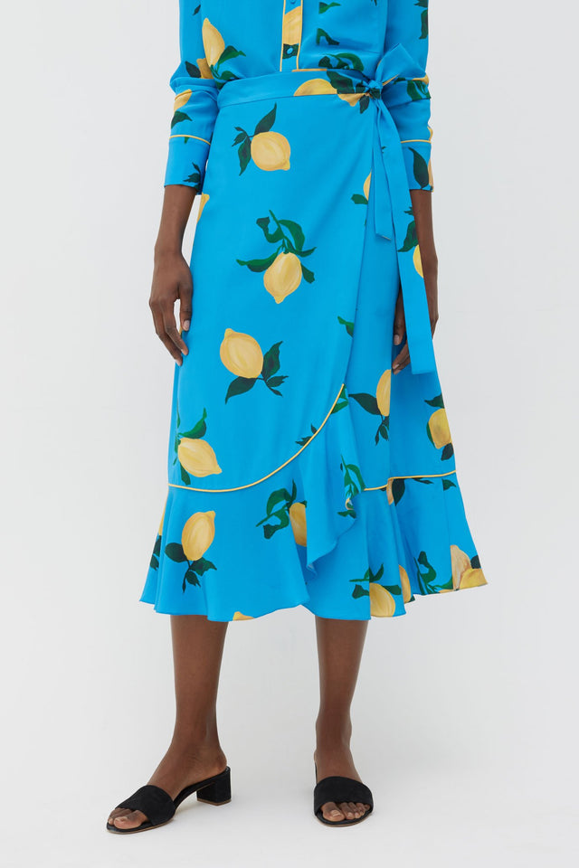 Blue Lemon Print Silk Wrap Skirt image 2