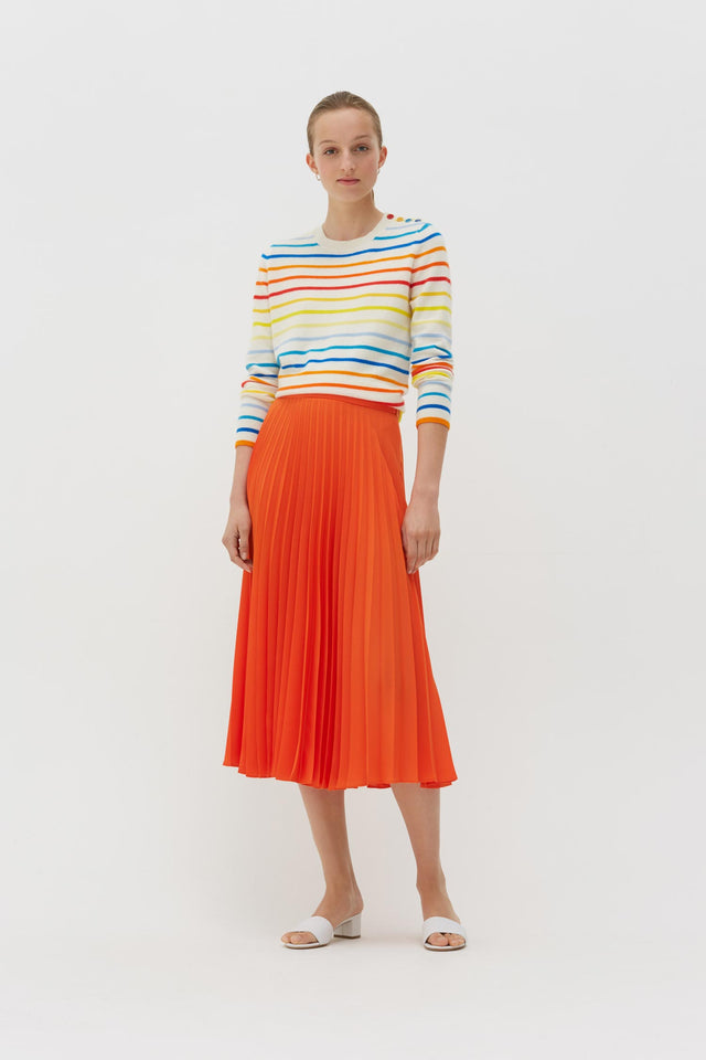 Orange Pleated Crepe de Chine Midi Skirt image 3