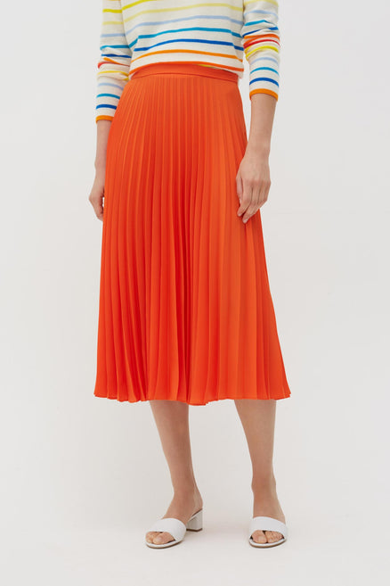 Orange Pleated Crepe de Chine Midi Skirt