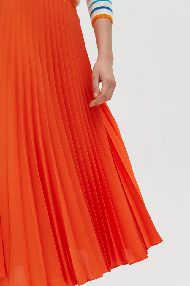 Orange Pleated Crepe de Chine Midi Skirt image 4