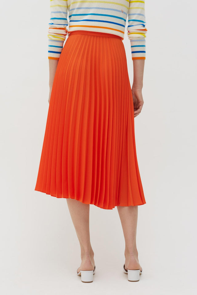 Orange Pleated Crepe de Chine Midi Skirt image 5