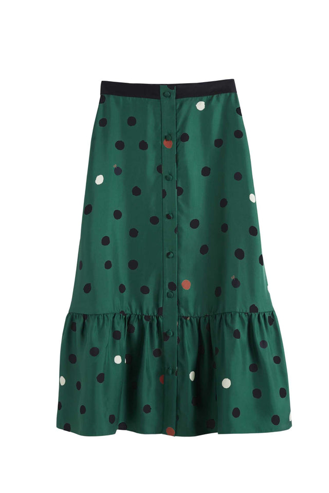 Green Painted Spot Silk-Twill Skirt image 2