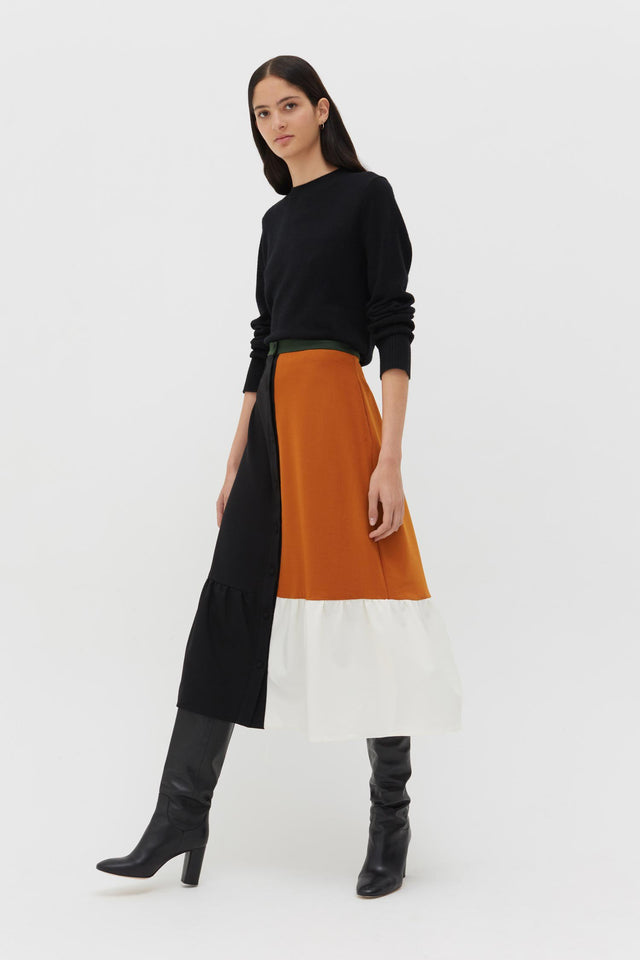 Black Colour Block Wool-Twill Skirt image 3