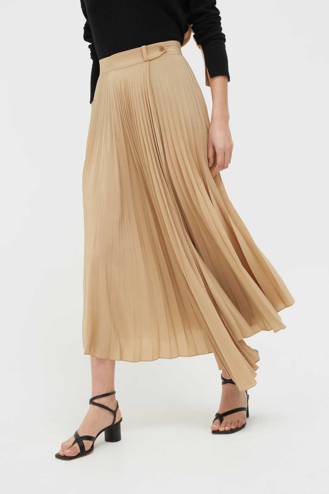 Biscotti Crepe Asymmetric Pleated Skirt image 1