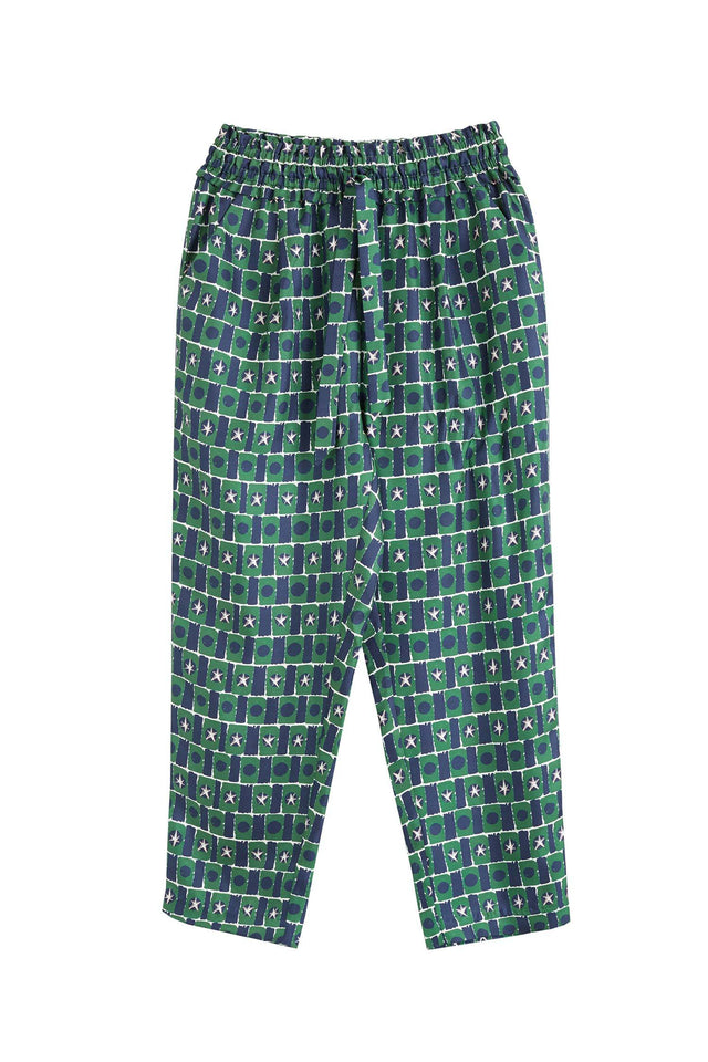 Green Starfall Relaxed Silk Trousers image 2