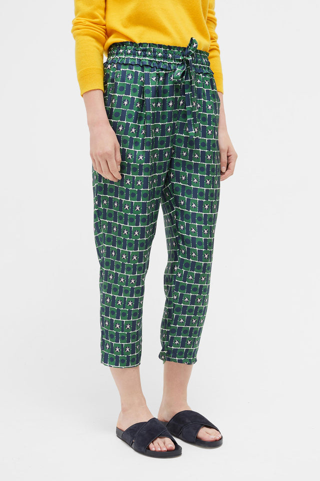 Green Starfall Relaxed Silk Trousers image 4