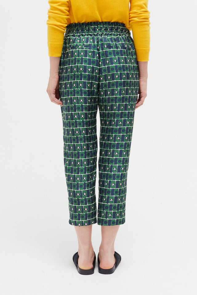 Green Starfall Relaxed Silk Trousers image 5