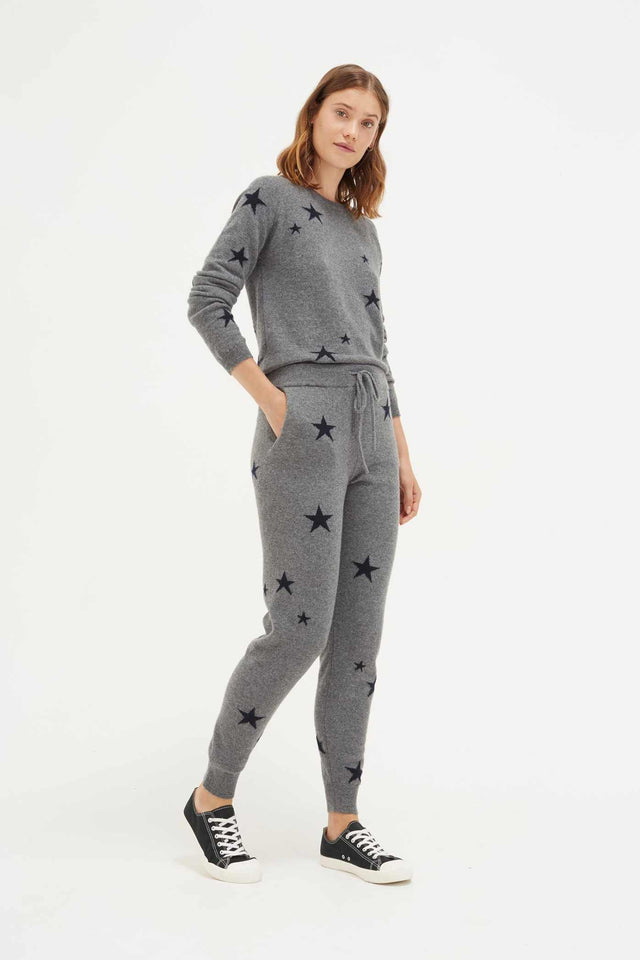 Light-Grey Star Cashmere Track Pants image 1