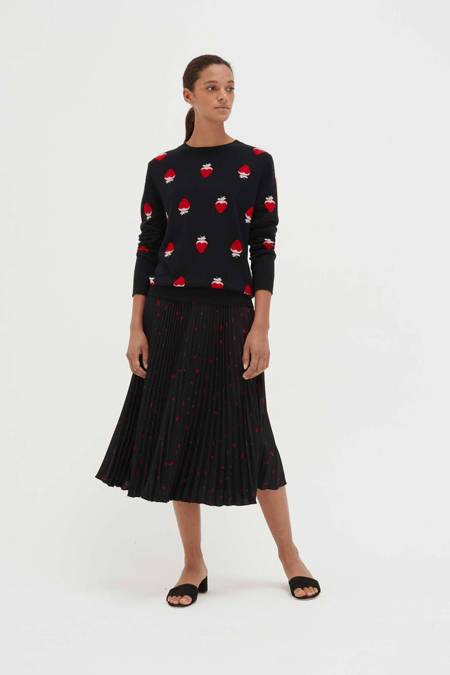 Black Cashmere Strawberry Fields Sweater image 5