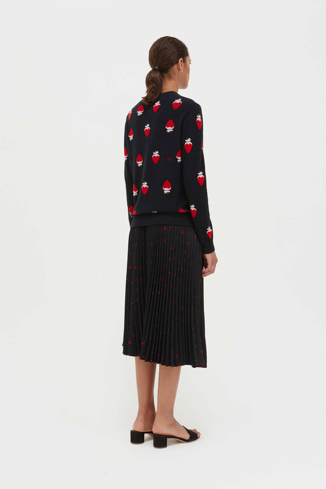 Black Cashmere Strawberry Fields Sweater image 6