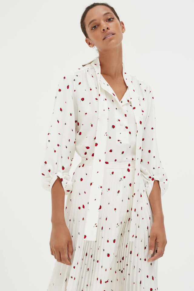 Ivory Silk Strawberry Fields Blouse image 3