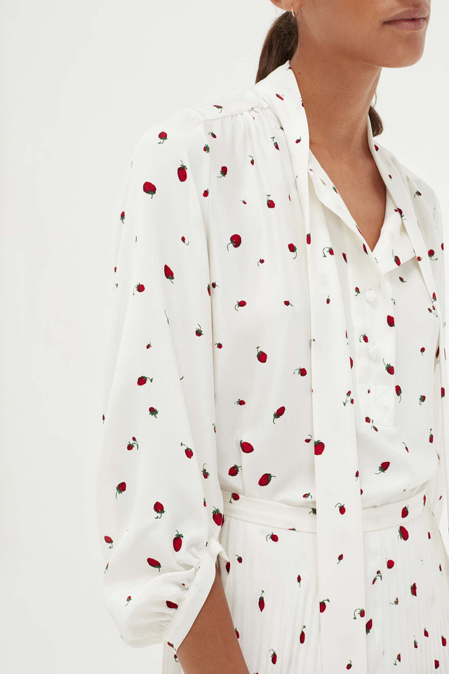 Ivory Silk Strawberry Fields Blouse image 4