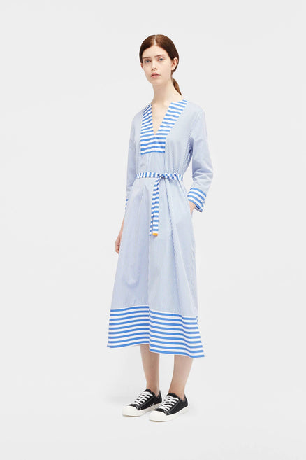 Navy Stripe Bib Dress