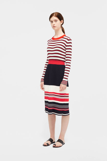 Navy Striped Pleated Skirt