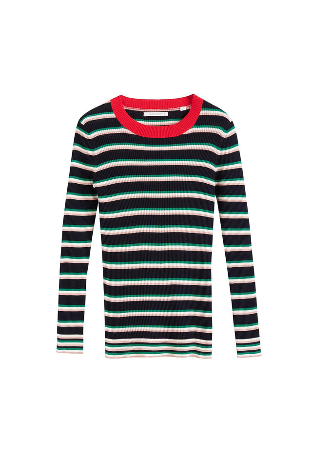 Navy Striped Rib Sweater image 2