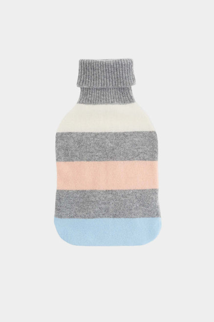 Grey Striped Hot Water Bottle