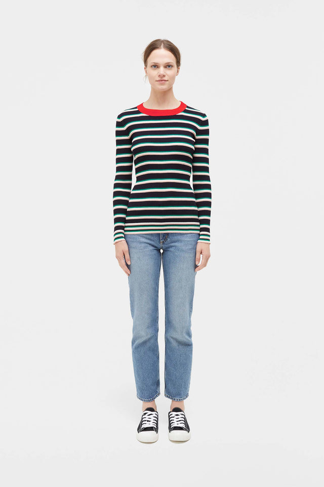 Navy Striped Rib Sweater image 5