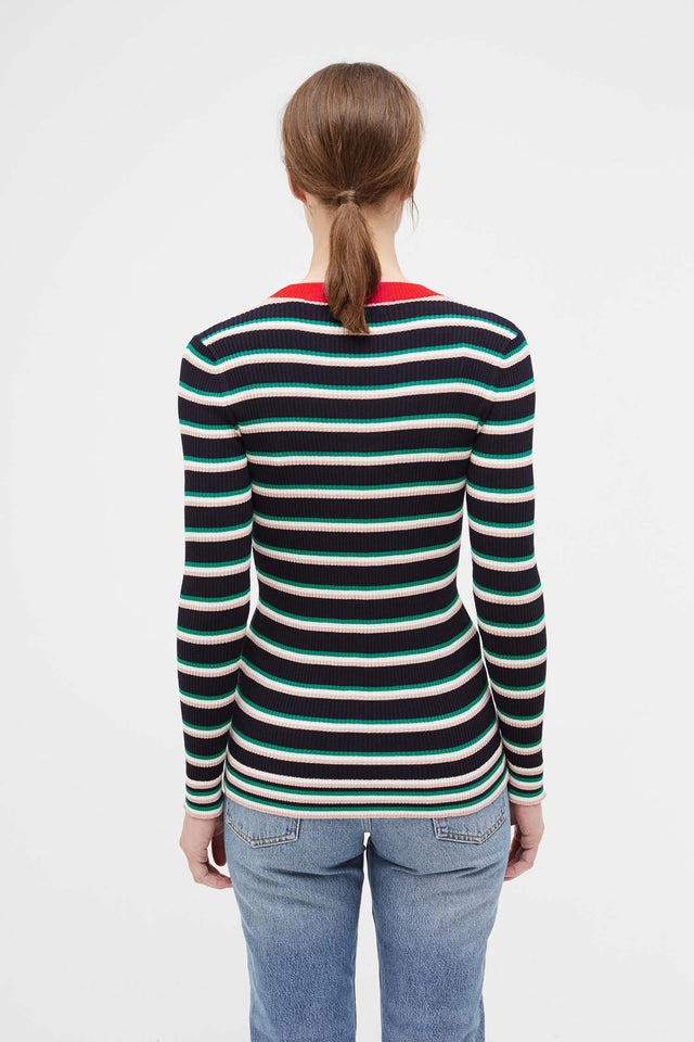 Navy Striped Rib Sweater image 3