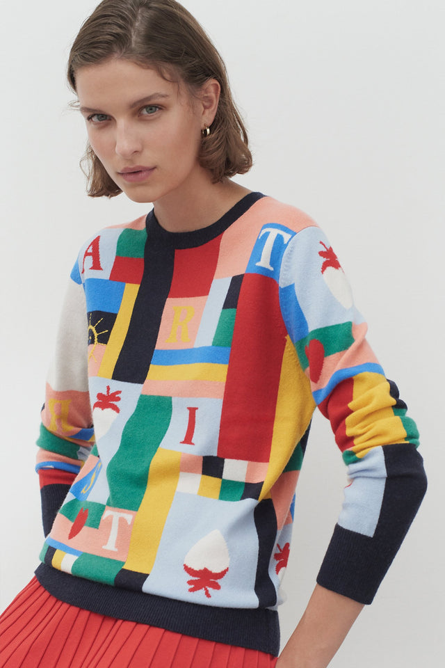 Patchwork Wool Bohemian Sweater image 1